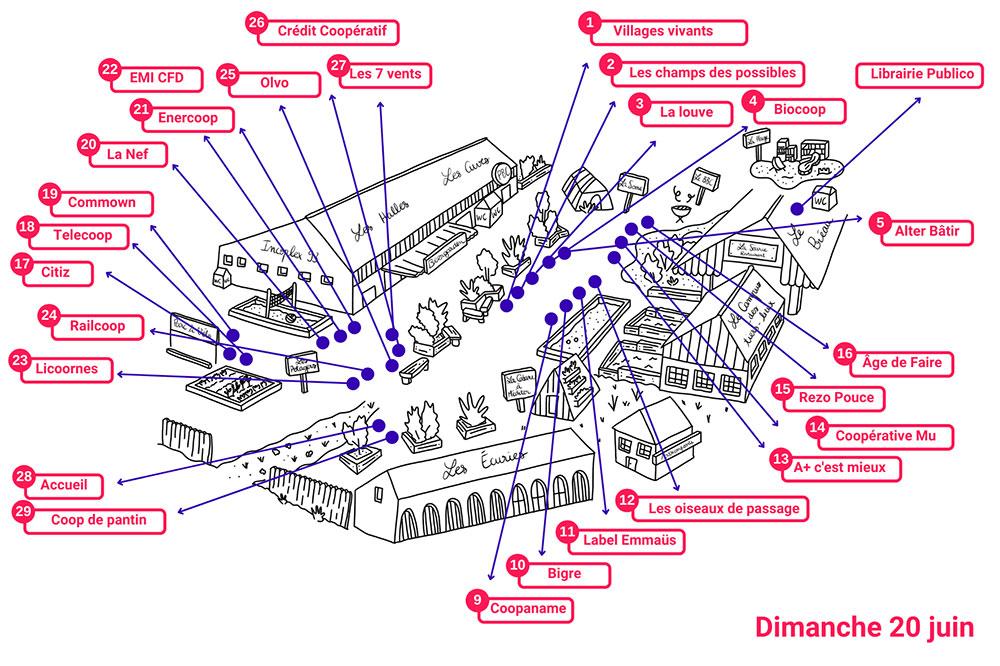 Plan du village des stands lors du festival à la Cité fertile, le dimanche 20 juin