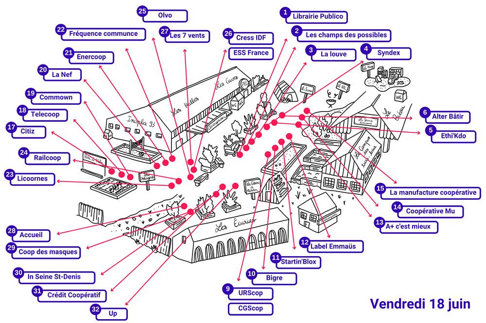 Plan du village des stands lors du festival à la Cité fertile, le vendredi 18 juin