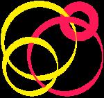 Spirales rouges et jaunes entrelacées